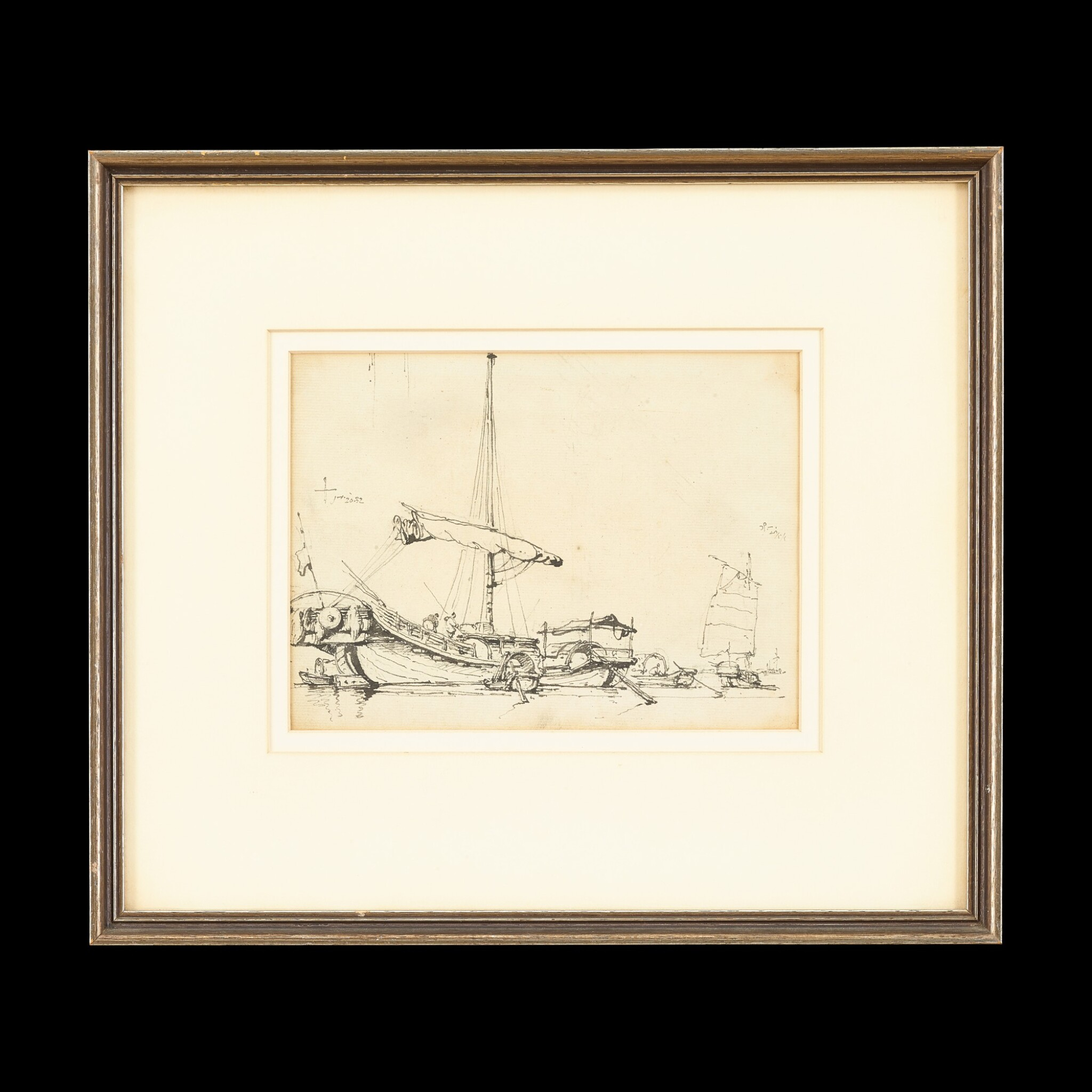 View full screen - View 1 of Lot 202. George Chinnery (1774-1852), 1829 Chinese Junks at Anchor | 錢納利(1774-1852年)1829年   素描中國帆船   紙本鉛筆、鋼筆及墨水 鏡框.