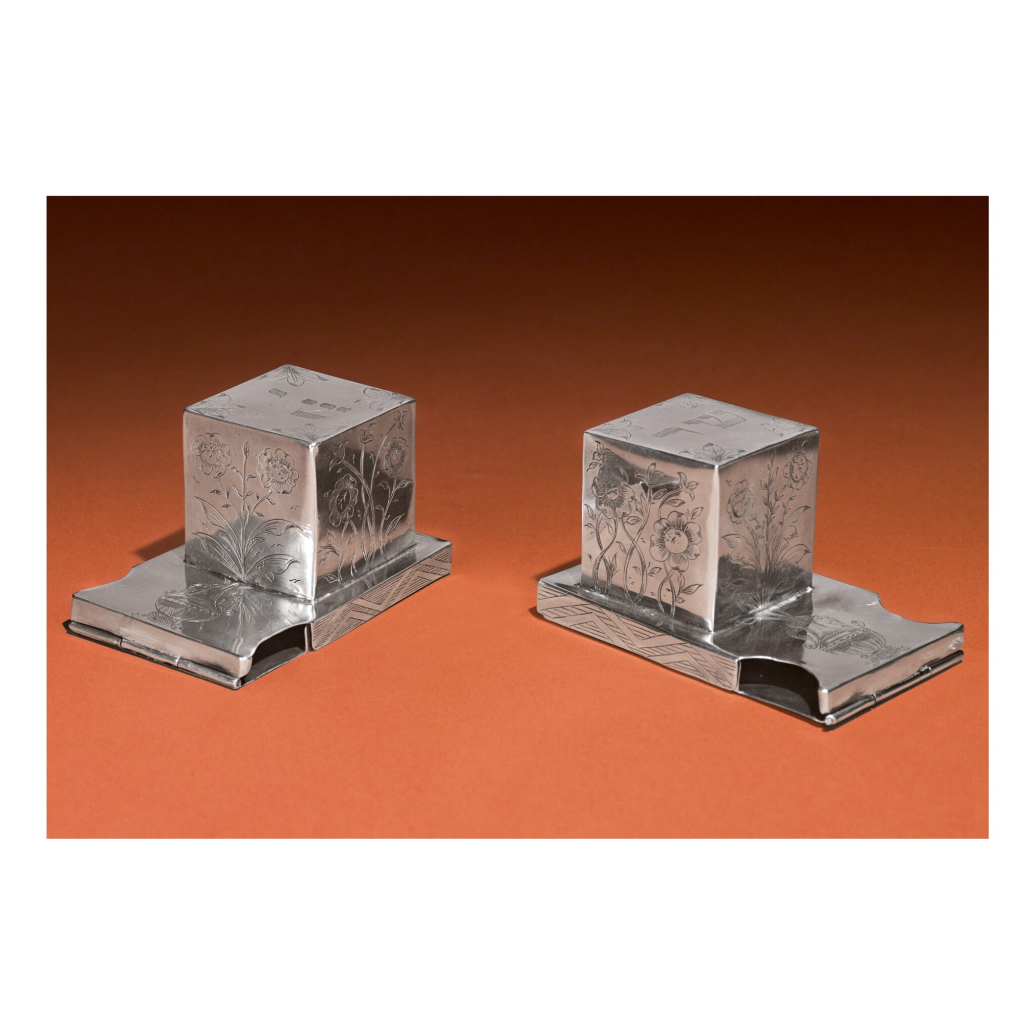View full screen - View 1 of Lot 177. A PAIR OF SILVER TEFFILIN BOXES, PROBABLY POLISH, 19TH CENTURY.