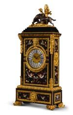 AN ITALIAN GILT-BRONZE MOUNTED EBONY TABLE CLOCK INSET WITH FLORENTINE PIETRE DURE PANELS, MID-19TH CENTURY