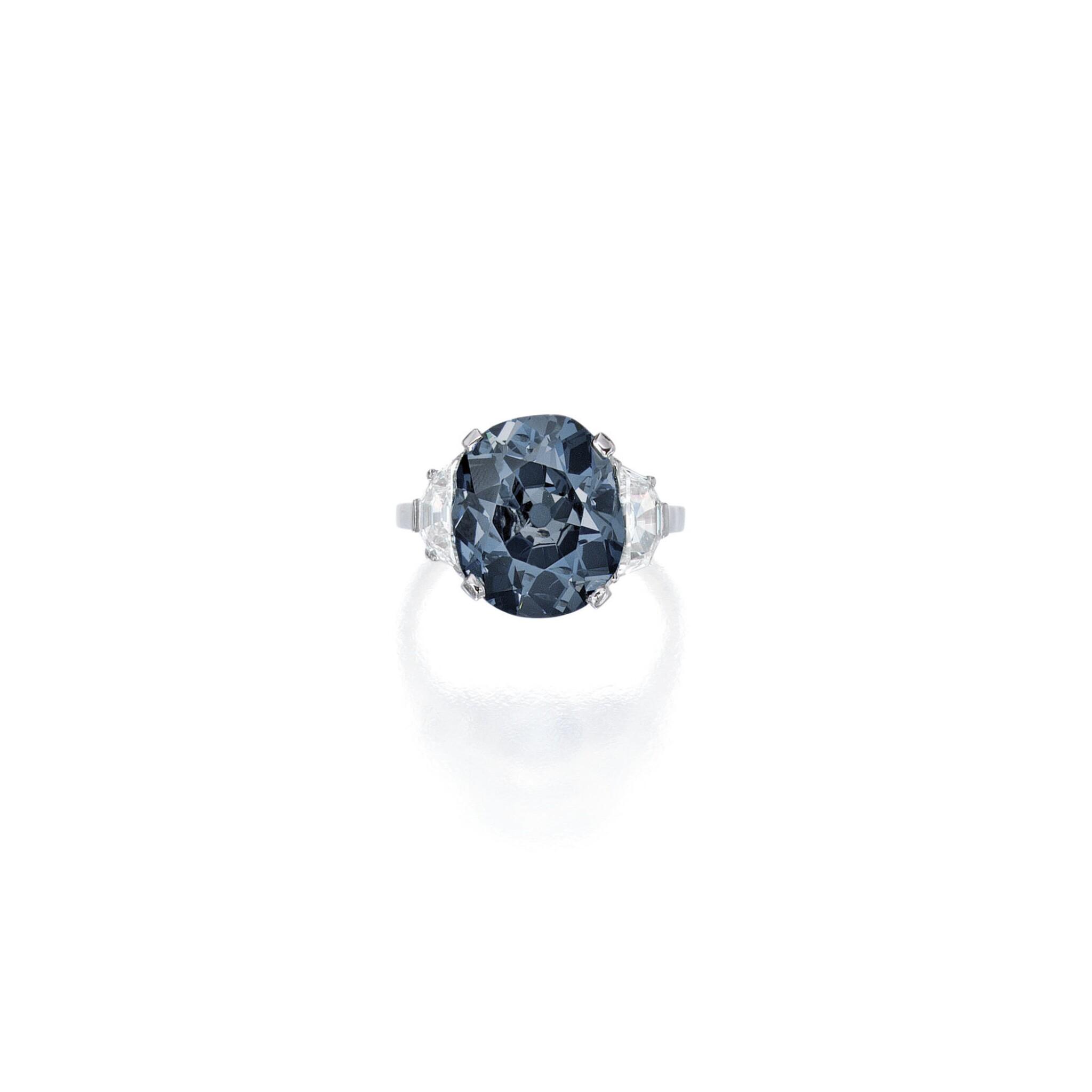 View full screen - View 1 of Lot 500. 'THE INDIAN BLUE,' AN ENCHANTING FANCY DEEP GRAYISH BLUE DIAMOND AND DIAMOND RING | 深彩灰藍色鑽石配鑽石戒指.