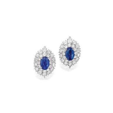 View 1. Thumbnail of Lot 7. Van Cleef & Arpels [梵克雅寶] | Pair of Sapphire and Diamond Earclips [藍寶石配鑽石耳環一對].