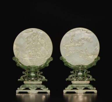 View 2. Thumbnail of Lot 655.  A PAIR OF CELADON JADE TABLE SCREENS WITH STANDS, QING DYNASTY.