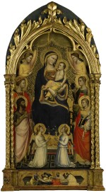 NICCOLÒ DI PIETRO GERINI, CIRCA 1390-1395 | MADONNA AND CHILD ENTHRONED, SURROUNDED BY SAINT JOHN THE BAPTIST, MARGARET OF ANTIOCH, SAINT LAURENCE, SAINT LUCY, AND ANGELS, THE PREDELLA ILLUSTRATED WITH THE DEPOSITION OF CHRIST