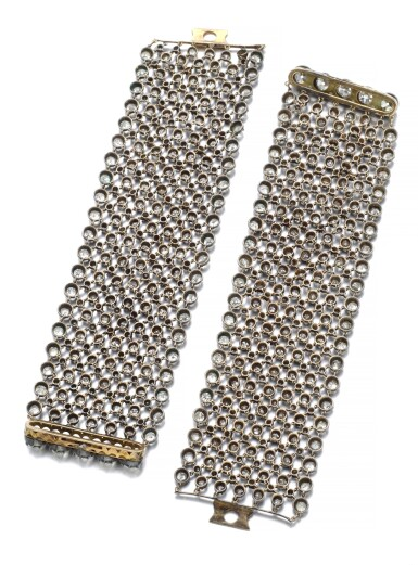 View 3. Thumbnail of Lot 152. PAIR OF DIAMOND BRACELETS/CHOKER, LATE 19TH CENTURY AND LATER.
