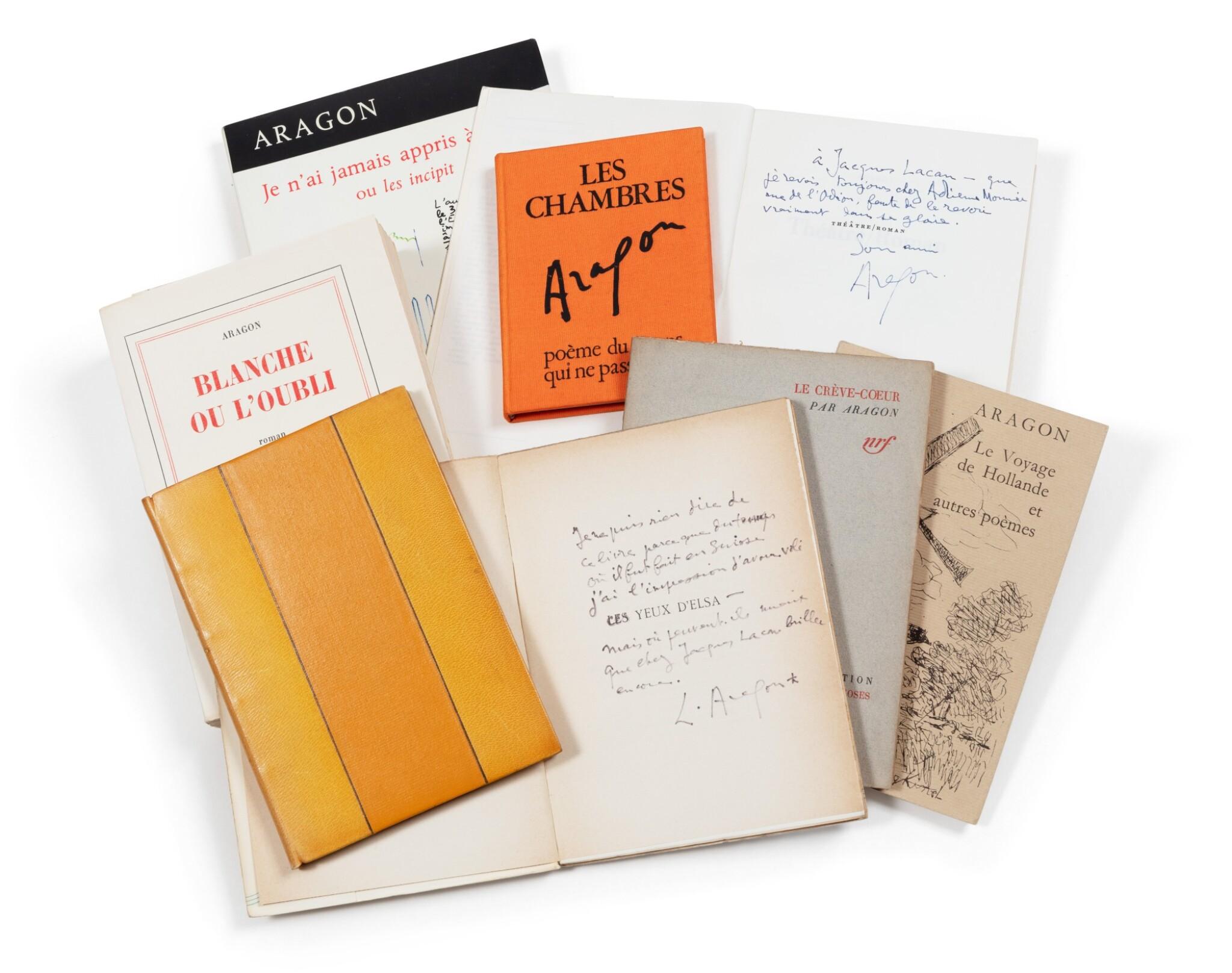 """View 1 of Lot 81. Ens. de 8 ouvrages avec envois à Jacques Lacan, dont """"Blanche ou L'Oubli"""", 1967, sur grand papier."""