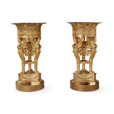A PAIR OF EMPIRE STYLE GILT BRONZE 'CORBEILLES A TROIS SPHYNGES' FRUIT BASKETS BY MAISON ODIOT, LAST QUARTER 20TH CENTURY