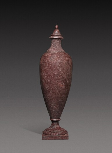 View 1. Thumbnail of Lot 136. A large Italian porphyry urn, 18th century and later.