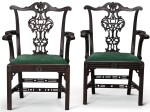 A PAIR OF GEORGE III STYLE CARVED MAHOGANY ARMCHAIRS, EARLY 20TH CENTURY