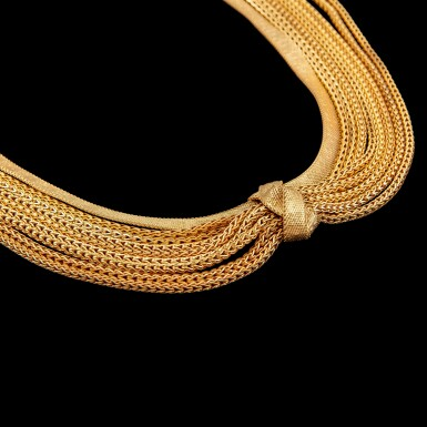 View 1. Thumbnail of Lot 1111. Christian Dior, 1960 A knotted multi-chain gold necklace 1960   年 克里斯汀·迪奧 金項鍊.