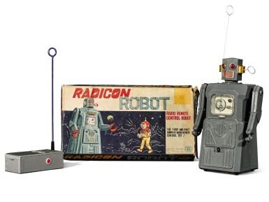 View 1. Thumbnail of Lot 287. A rare TM (Masudaya) battery-operated tin-plate Radicon Robot, Japan, circa 1958.