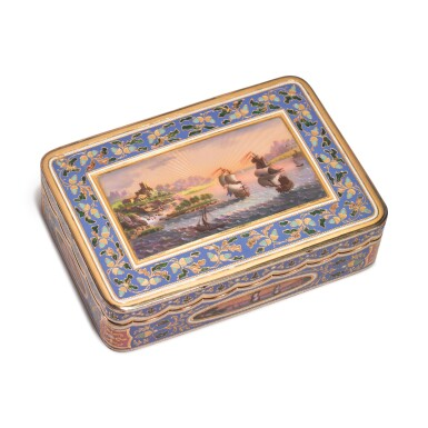 A SWISS ENAMELED GOLD SNUFF BOX FOR THE TURKISH MARKET, CIRCA 1820