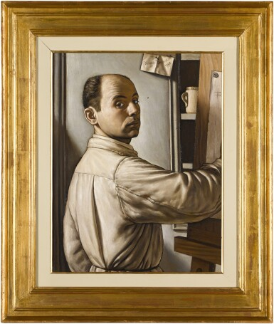 View 3. Thumbnail of Lot 41. XAVIER BUENO  |  SELF-PORTRAIT OF THE ARTIST AT HIS EASEL, HALF-LENGTH, AGED 32.