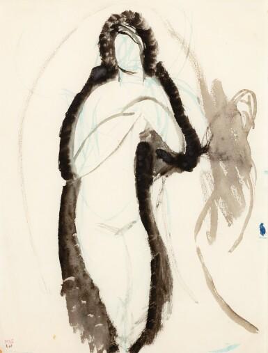 View 1. Thumbnail of Lot 120. AMEDEO MODIGLIANI   FEMME NUE DEBOUT, LES MAINS JOINTES DEVANT LA POITRINE.