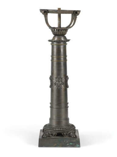 A RESTORATION PATINATED BRASS COLZA LAMP BASE, SECOND QUARTER 19TH CENTURY