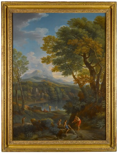 View 2. Thumbnail of Lot 168. Arcadian landscape with figures on a path in the foreground, and beside a lake.