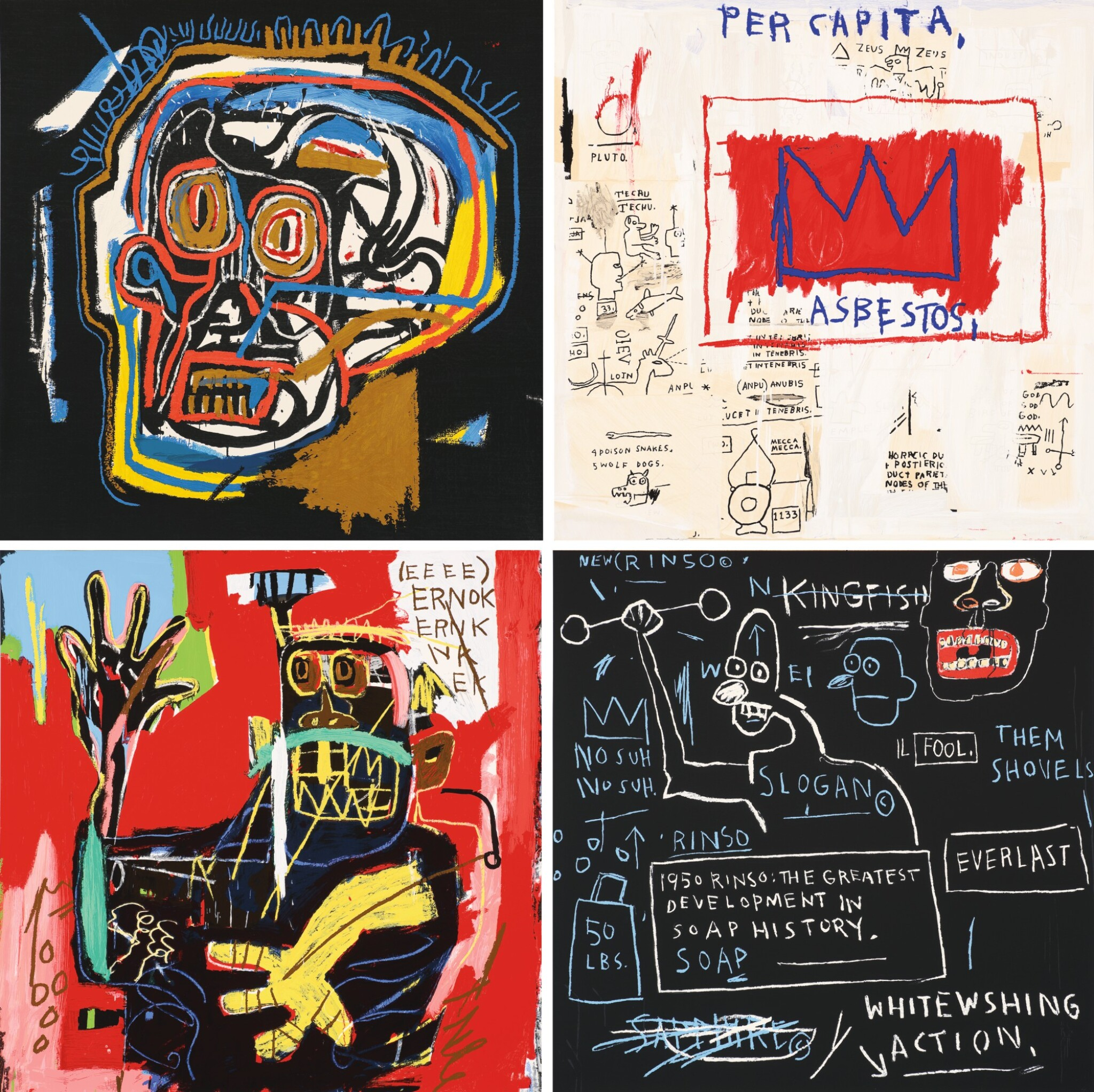 View full screen - View 1 of Lot 58. AFTER JEAN-MICHEL BASQUIAT | UNTITLED (HEAD; PER CAPITA; ERNOK; AND RINSO).
