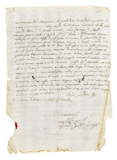 C. Goldoni. Ten autograph letters signed to the Genoese nobleman Cristoforo Spinola, Venice 1742-1743