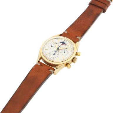 View 6. Thumbnail of Lot 14. REFERENCE 330.194 TRI COMPAX A YELLOW GOLD TRIPLE CALENDAR CHRONOGRAPH WRISTWATCH WITH MOON PHASES, CIRCA 1955.