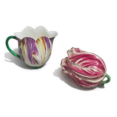 View 2. Thumbnail of Lot 146. A LONGTON HALL TULIP-MOLDED CREAM JUG, CIRCA 1755, AND A THURINGIAN TULIP-FORM BOX AND COVER, LATE 18TH CENTURY.