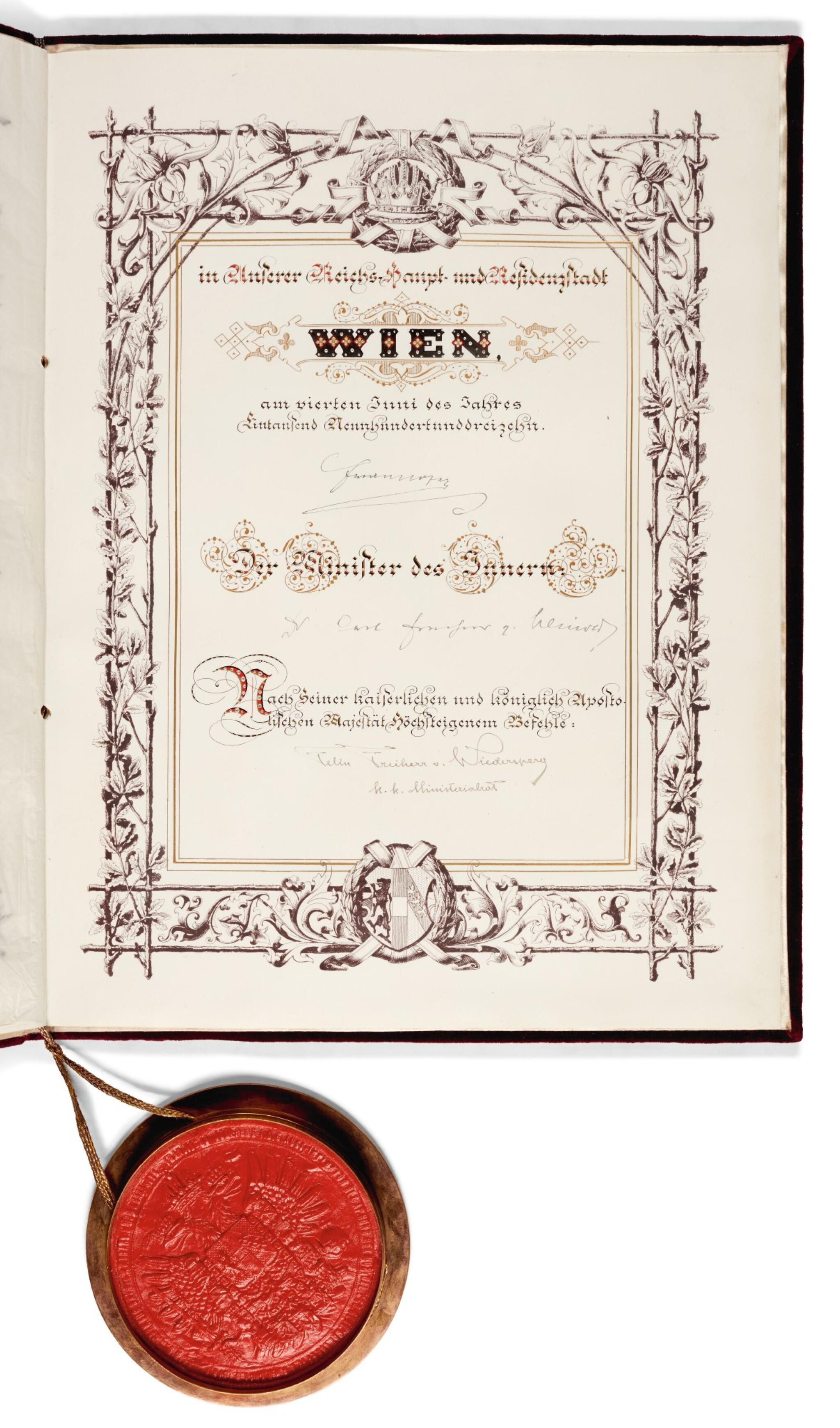 Franz Joseph I of Austria. Grant of nobility for Leopold Walter Sachs, 1913