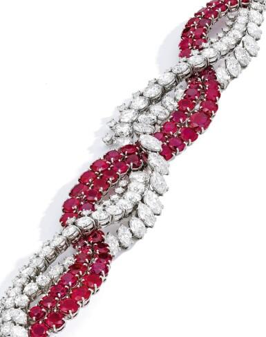 View 2. Thumbnail of Lot 90. Harry Winston [海瑞溫斯頓] | Ruby and Diamond Bracelet [紅寶石配鑽石手鏈].