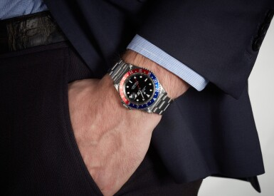 View 4. Thumbnail of Lot 1. ROLEX | GMT-MASTER, REFERENCE 16700, STAINLESS STEEL DUAL-TIME WRISTWATCH WITH DATE AND BRACELET, CIRCA 1991.