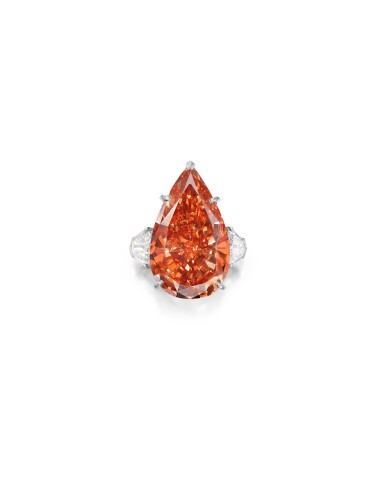 View 1. Thumbnail of Lot 1743. Cartier | A Highly Important and Exceptional Fancy Deep Pinkish Orange Diamond and Diamond Ring | 卡地亞 | 23.48克拉 深彩粉紅橙色鑽石 配 鑽石 戒指.