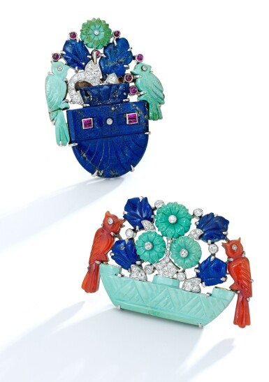 View 2. Thumbnail of Lot 209. Cartier | Turquoise, Lapis Lazuli, Carnelian and Diamond Brooch.