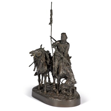 View 2. Thumbnail of Lot 290. Zaporozhian Cossack after Battle: A bronze figural group, cast by Chopin, after the model by Evgeny Lansere (1848-1886).