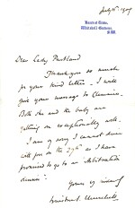 "Winston S. Churchill | Autograph letter signed (""Winston Churchill"") to Lady Pentland, 15 July 1909"