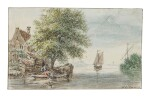 HENDRIK SPILMAN | RIVER LANDSCAPE WITH TWO FIGURES FISHING FROM A BOAT BY COTTAGES TO THE LEFT