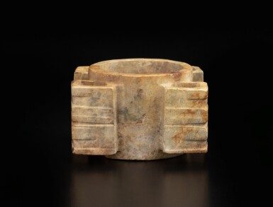 View 5. Thumbnail of Lot 50. A rare Liangzhu-style beige jade cong | 良渚風格玉琮.