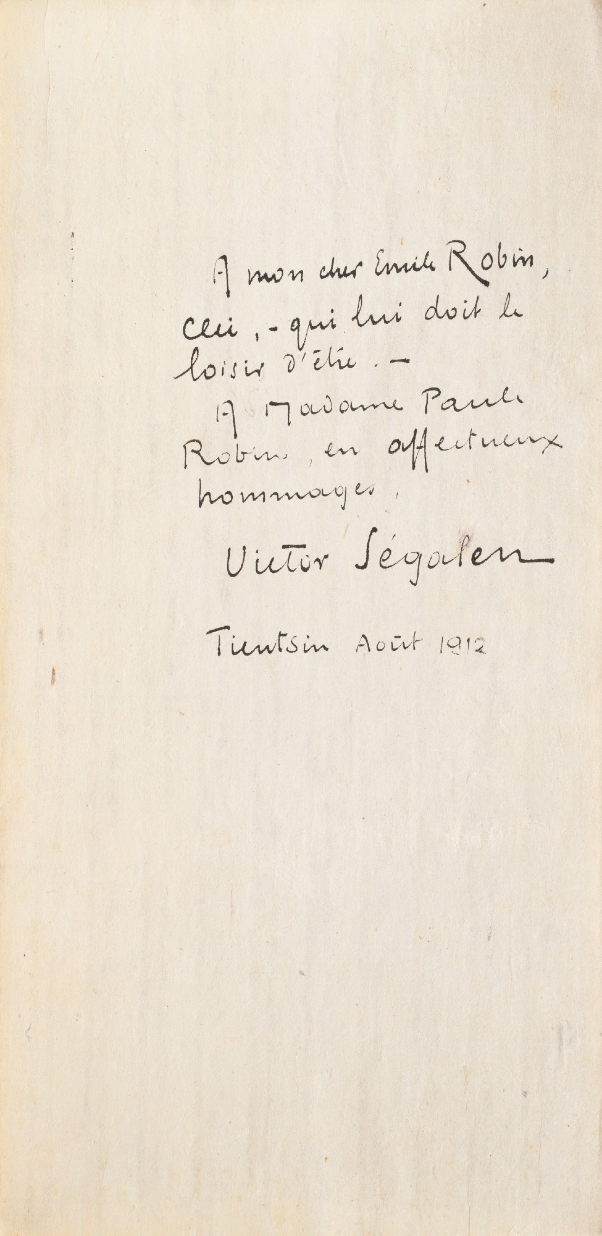 View full screen - View 1 of Lot 97. SEGALEN, Victor. Stèles. 1912. Ais de bois. 1/82 ex., avec envoi à son ami médecin le docteur Emile Robin..