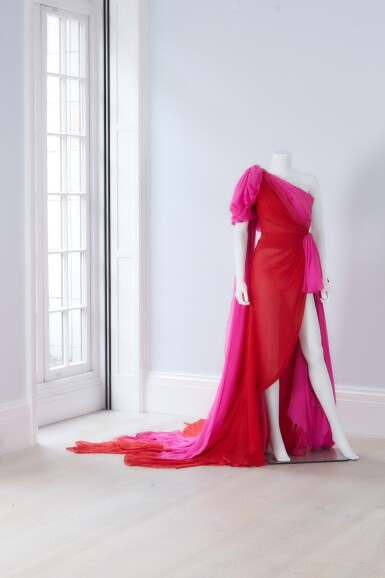 View 2. Thumbnail of Lot 35. Red and Fuchsia Pink Silk Chiffon Asymmetrically Draped Couture Gown, Worn by Marisa Tomei for the 2019 Emmy Awards, Autumn-Winter 2019/20 Collection.