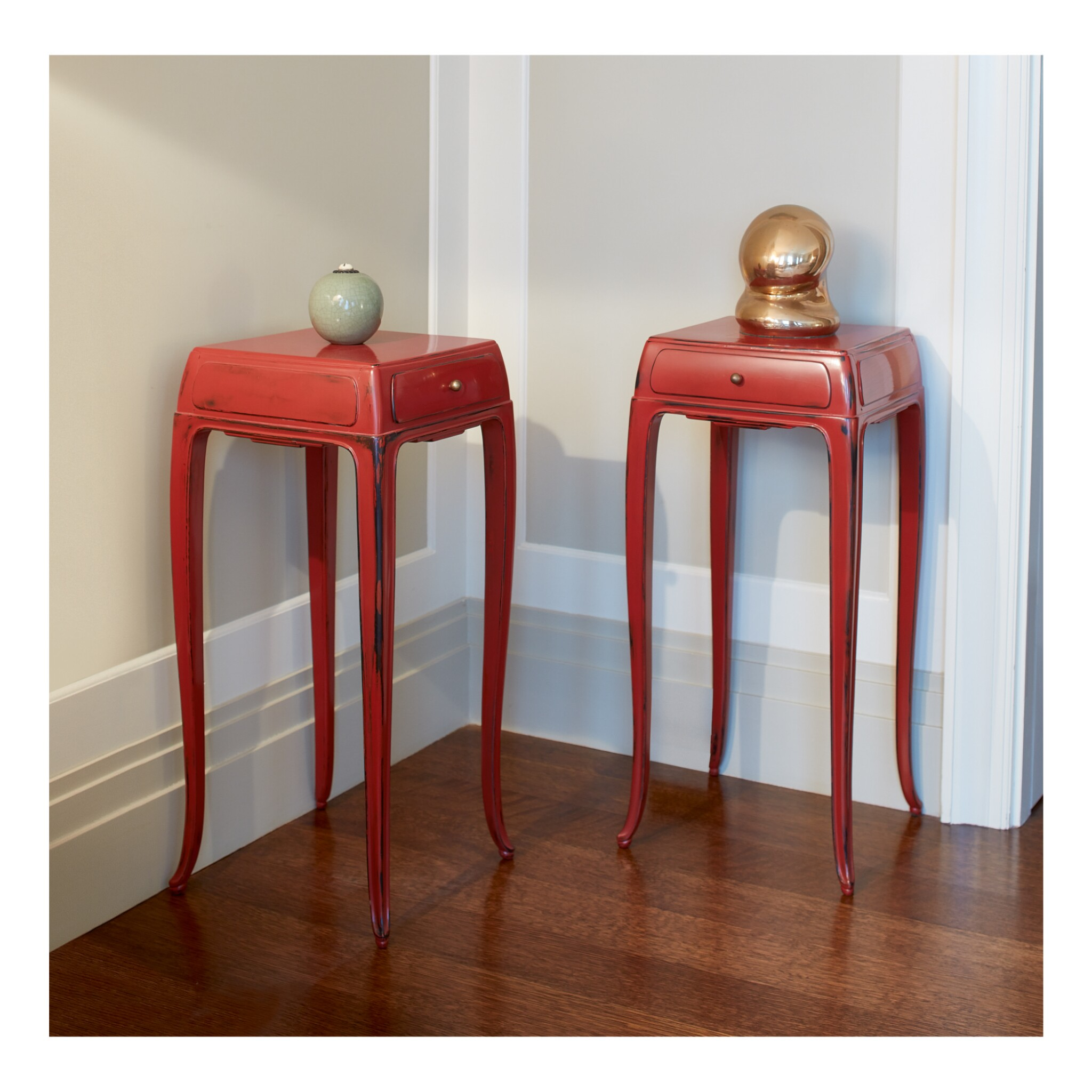 View full screen - View 1 of Lot 135. JEAN DUNAND | PAIR OF SIDE TABLES.