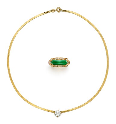 DIAMOND NECKLACE AND JADEITE AND DIAMOND RING   鑽石項鏈; 及 翡翠 配 鑽石 戒指