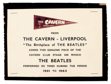 View 1. Thumbnail of Lot 9. CAVERN CLUB | Fragment of stage.