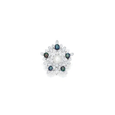 NATURAL PEARL AND DIAMOND PENDANT-BROOCH, BULGARI   天然珍珠配鑽石吊墜 / 別針,寶格麗
