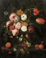 MANNER OF JAN DAVIDSZ. DE HEEM | STILL LIFE WITH FLOWERS IN A VASE AND FRUITS ON A LEDGE