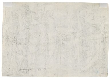 View 3. Thumbnail of Lot 39. The King's Three Sons Shooting at their Father's Corpse; and The Woman with an Owl (Bartsch 4, 21).
