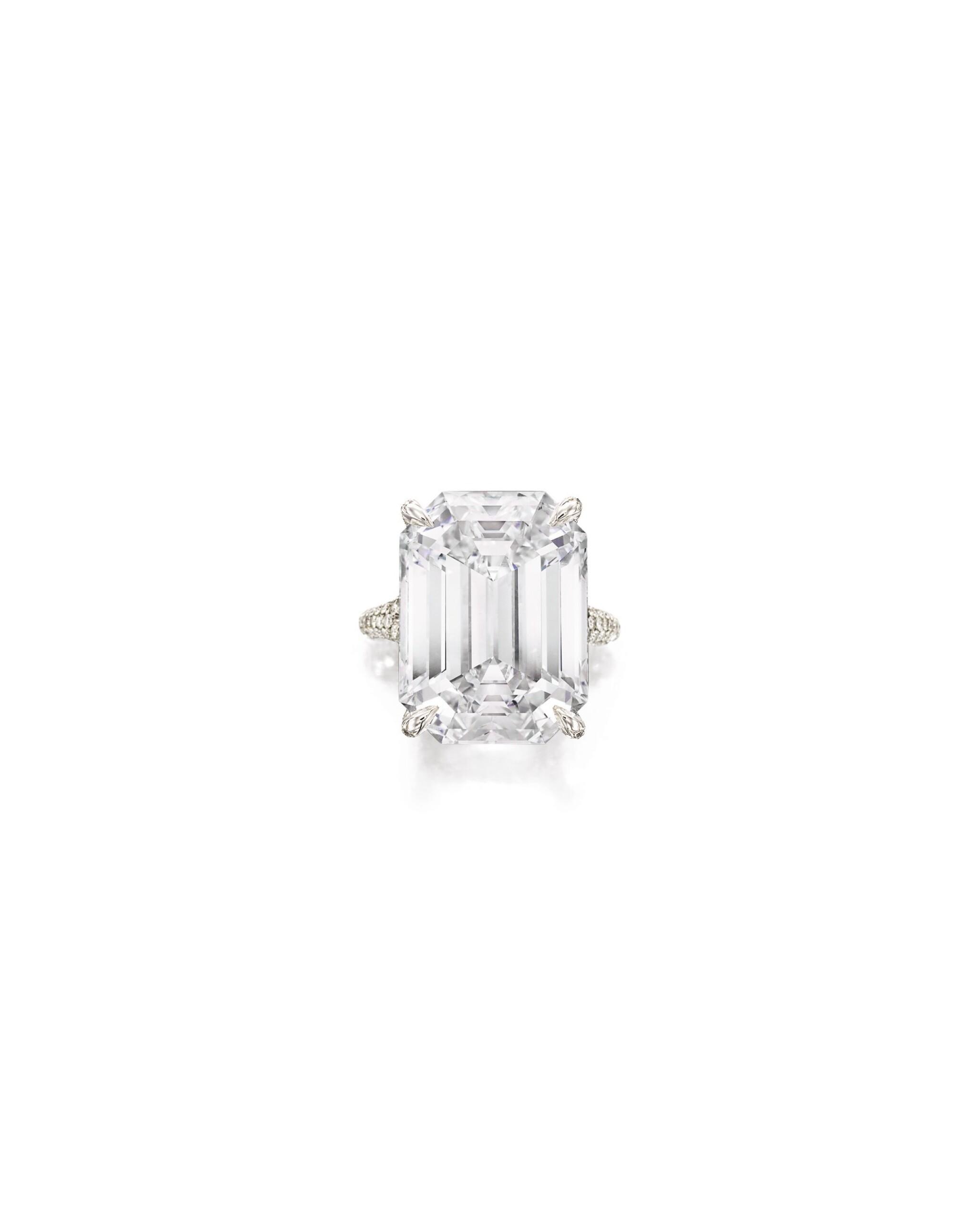 View full screen - View 1 of Lot 1694. Sotheby's Diamonds   'Basket' Diamond Ring   「蘇富比鑽石」   'Basket' 21.14克拉 方形 D色 完美無瑕 鑽石 戒指.