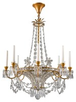 AN EMPIRE STYLE GILT-METAL AND CUT GLASS EIGHT-LIGHT CHANDELIER 20TH CENTURY, POSSIBLY BY MAISON BAGUES