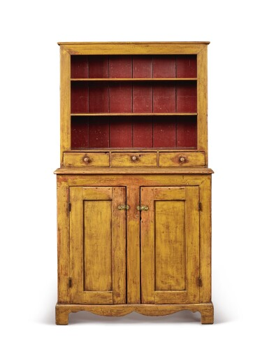 View 2. Thumbnail of Lot 1527. YELLOW-PAINTED PINE STEP-BACK OPEN-TOP CUPBOARD, PENNSYLVANIA, CIRCA 1840.