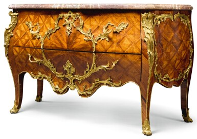A LOUIS XV GILT-BRONZE MOUNTED KINGWOOD BOMBÉ COMMODE, STAMPED MIGEON PART MID-18TH CENTURY