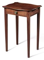 VERY FINE CHIPPENDALE FIGURED MAHOGANY SERPENTINE-TOP WORK TABLE, MASSACHUSETTS, CIRCA 1790