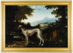 MICHELE PACE, CALLED MICHELANGELO DEL CAMPIDOGLIO | Portrait of a blue greyhound belonging to the Chigi family, standing in a coastal, mountainous landscape | 米謝爾・佩斯 - 或稱米開朗基羅・德・坎皮多里奧 | 《基吉家族之藍灰色獵犬站於沿海山景中的肖像》