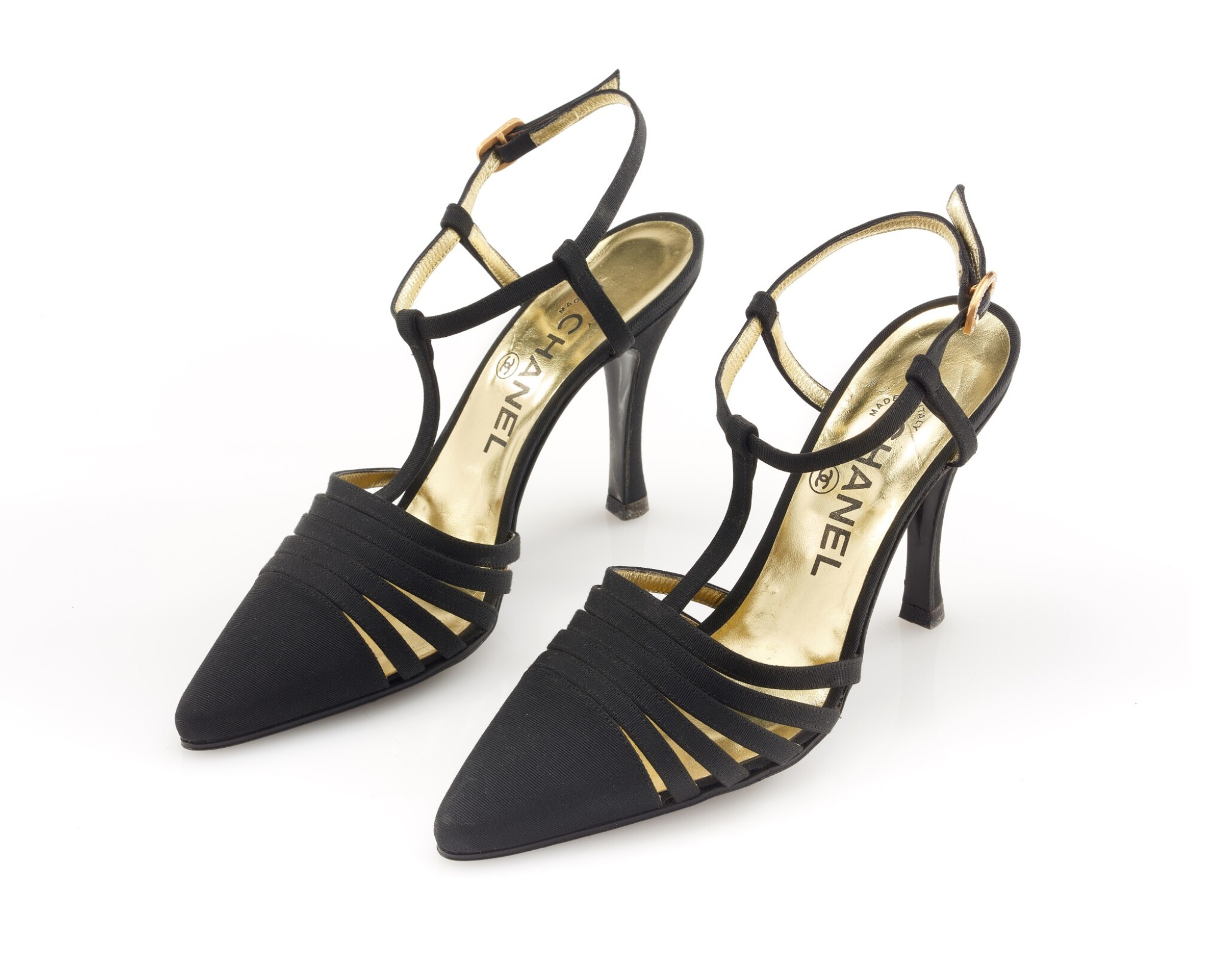 Pair of black grosgrain t-strap pumps