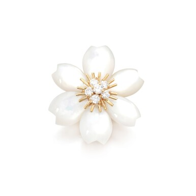 View 1. Thumbnail of Lot 86. Mother-of-pearl and diamond brooch, 'Rose de Noël'.