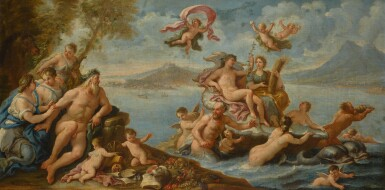 View 2. Thumbnail of Lot 9. CIRCLE OF PAOLO DE' MATTEIS | AN ALLEGORY OF PROSPERITY AND THE ARTS IN THE CITY OF NAPLES; AND TRIUMPH OF GALATEA WITH A VIEW OF MESSINA BEYOND, AND A PORTRAIT OF CHARLES VI (1685-1740), HOLY ROMAN EMPEROR, HELD ALOFT BY VICTORY.