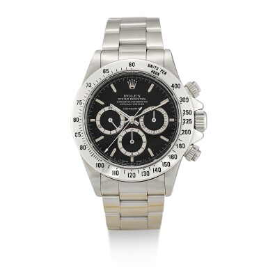 ROLEX  |  COSMOGRAPH DAYTONA, REFERENCE 16520,  A STAINLESS STEEL CHRONOGRAPH WRISTWATCH WITH SUSPENDED LOGO AND BRACELET, CIRCA 1989